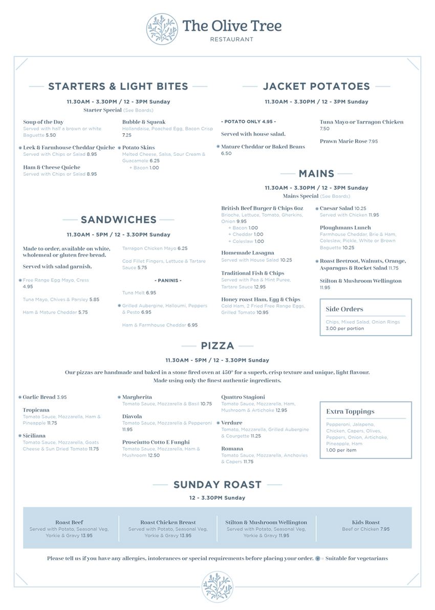Starters & Light menu